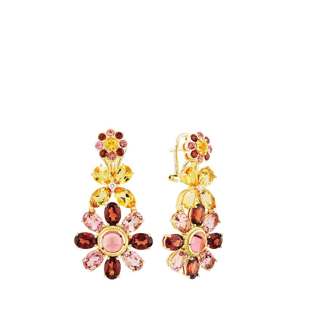 Ailes de Psyché earrings | Tourmaline, garnet, citrine, sapphires, yellow gold | Fine jewellery Lalique