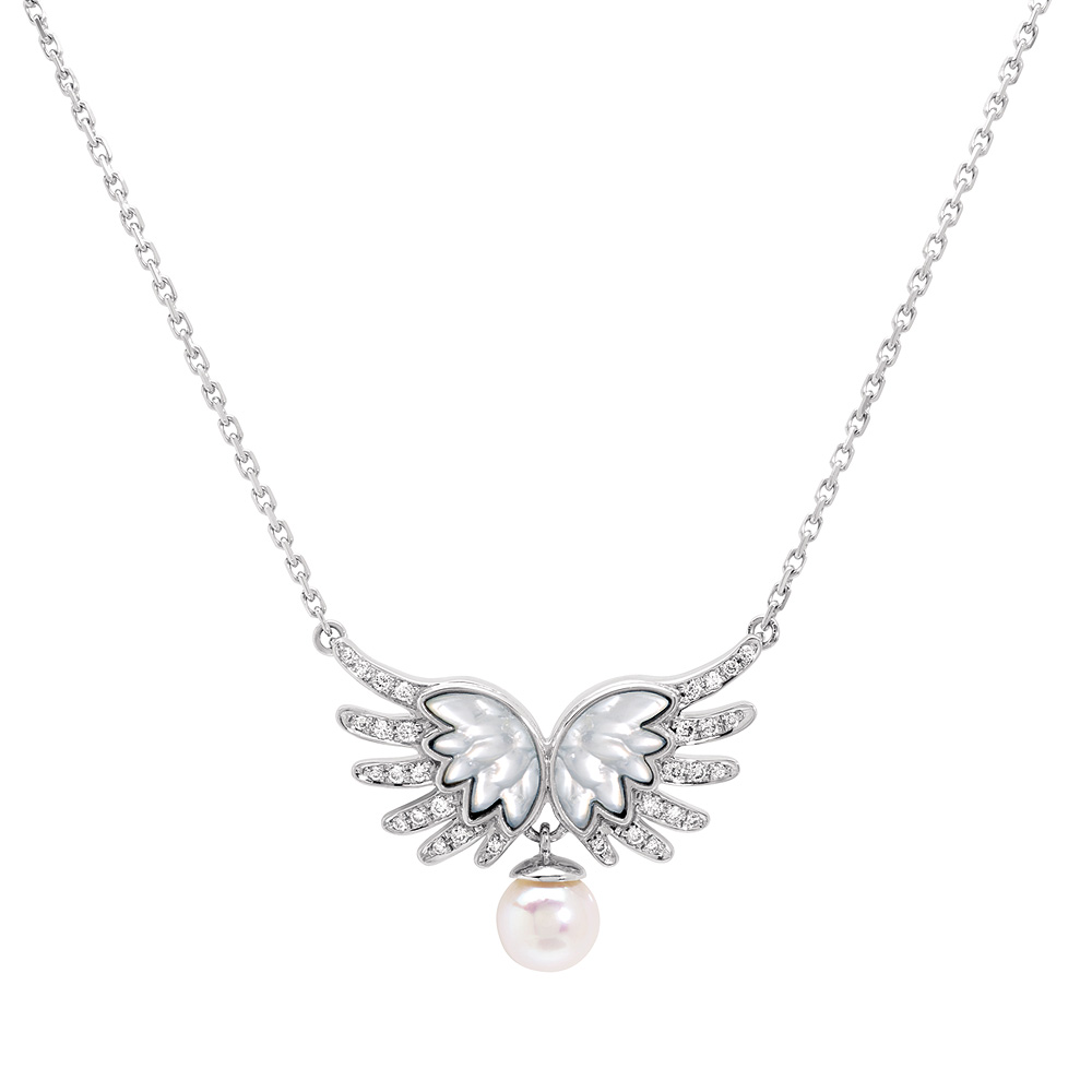 Vesta pendant | Diamonds, pearl, white gold | Fine jewellery Lalique