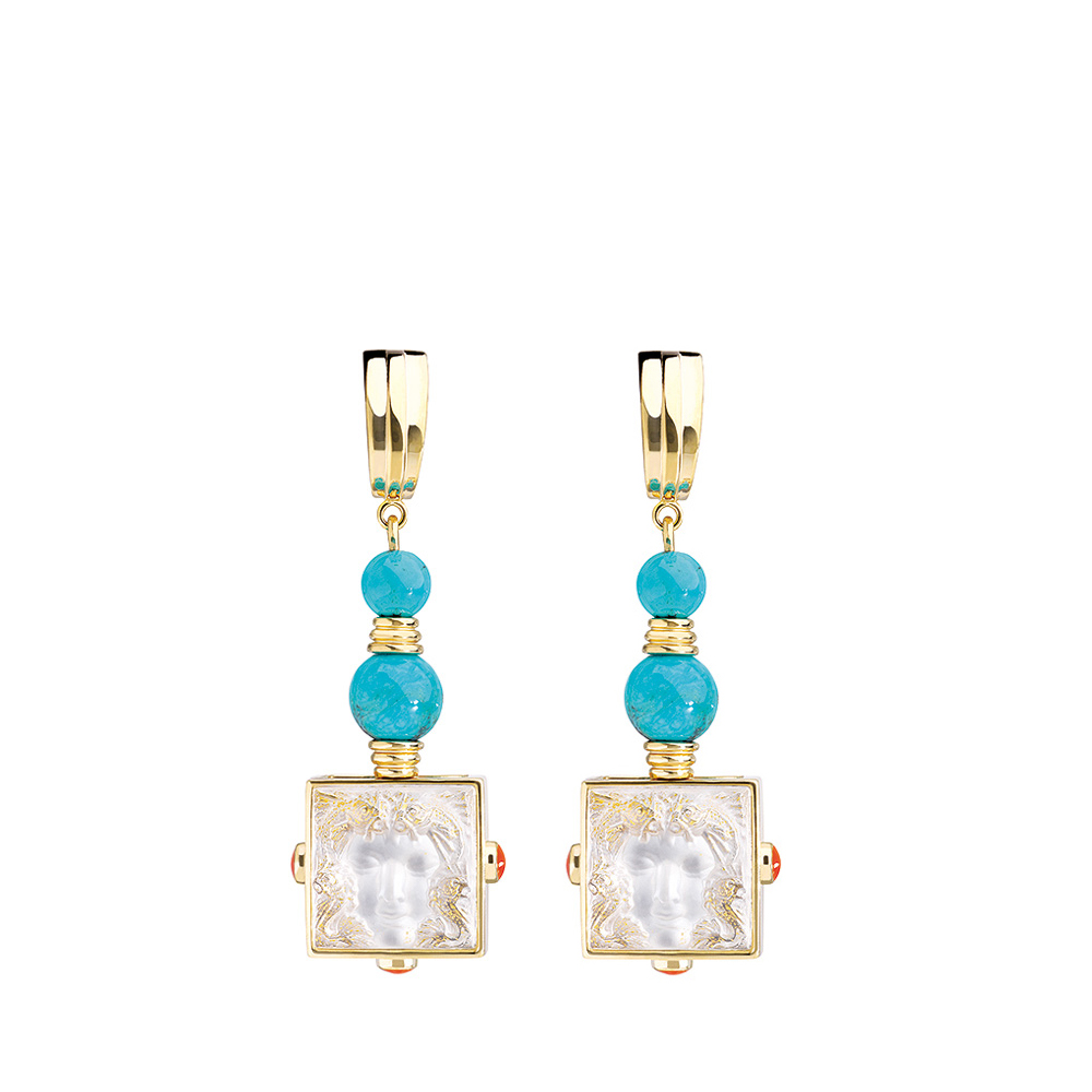 Aréthuse earrings | Clear crystal, vermeil, clip clasp system | Costume jewellery Lalique
