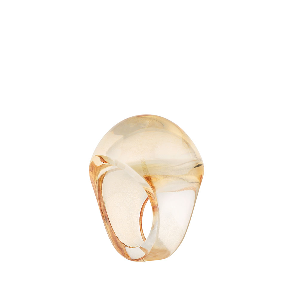 Cabochon ring | Clear crystal, gold luster | Costume jewellery Lalique