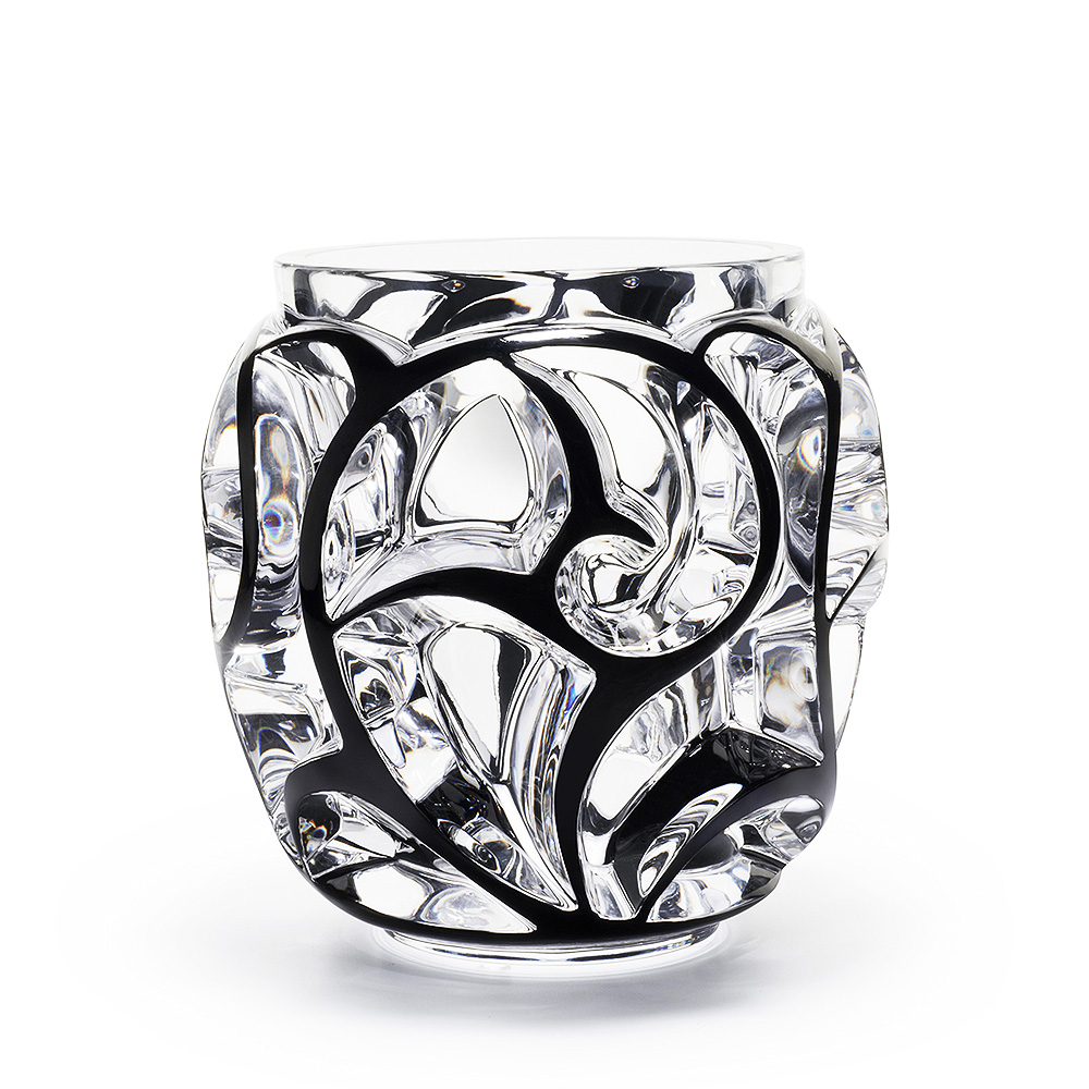 Tourbillons grand vase clear crystal and black enamelled vase tourbillons grand vase clear crystal and black enamelled vase lalique reviewsmspy