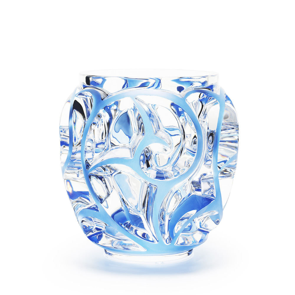 Tourbillons grand vase | Clear crystal, blue patinated | Vase Lalique