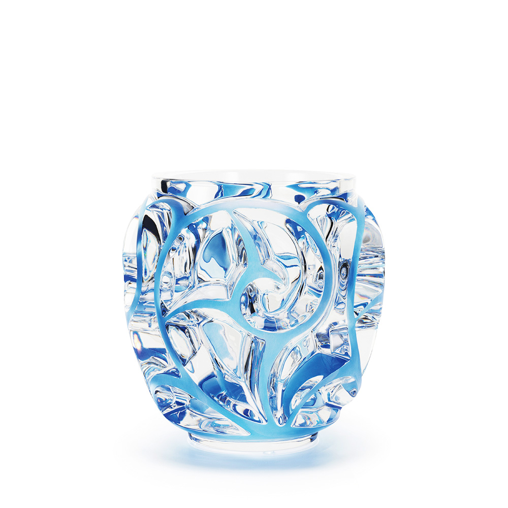 Tourbillons vase | Clear crystal, blue patinated | Vase Lalique