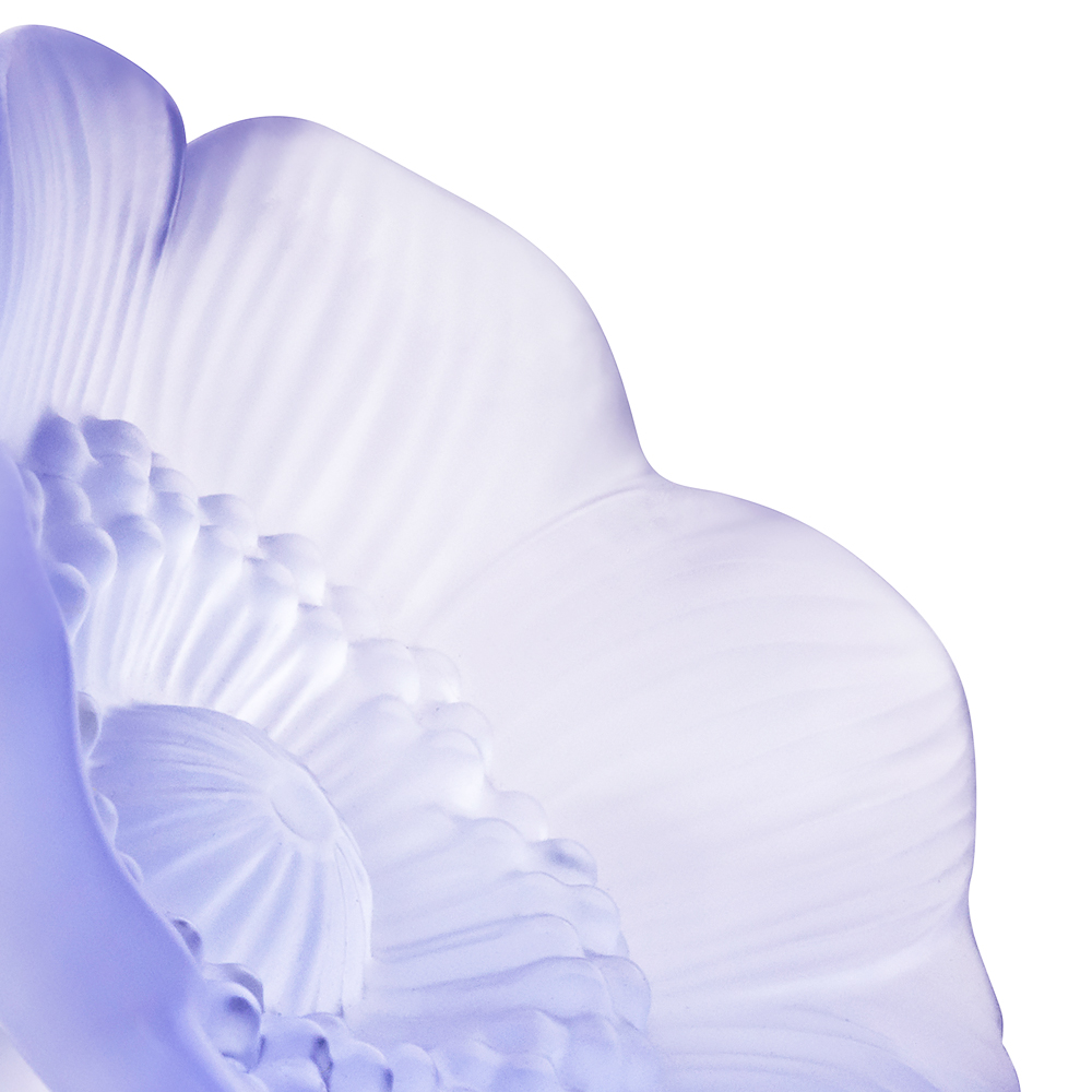 Anemone sculpture | Blue lavender dichroic crystal, small size | Sculpture Lalique