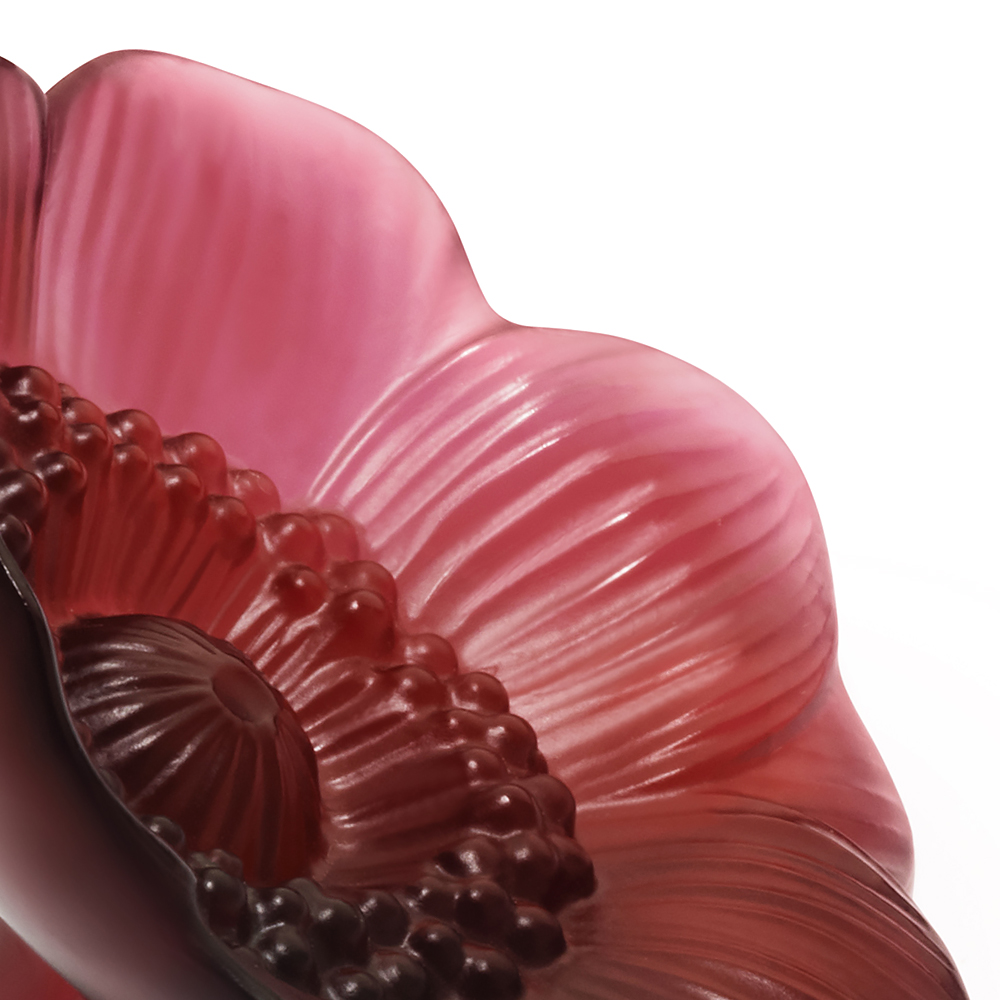 Anemone sculpture | Red crystal, small size | Sculpture Lalique