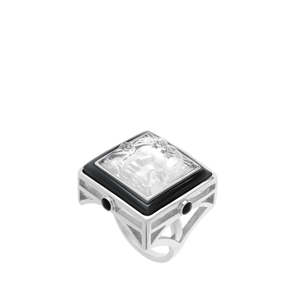 Aréthuse ring | Clear crystal, black lacquer, silver | Costume jewellery Lalique