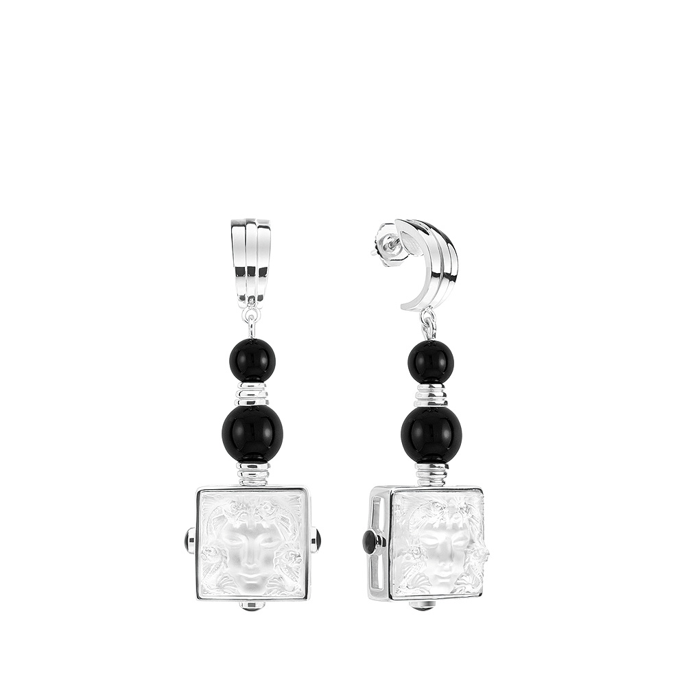 Aréthuse earrings   Clear crystal, onyx silver, pin clasp system   Costume jewellery Lalique