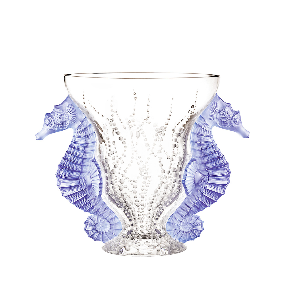 Poséidon vase | Limited edition (99 pieces), blue lavender dichroic crystal | Vase Lalique