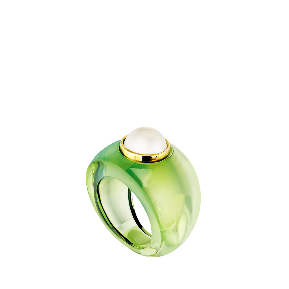 Charmante Ring | Clear and green crystal, vermeil | Costume jewellery Lalique