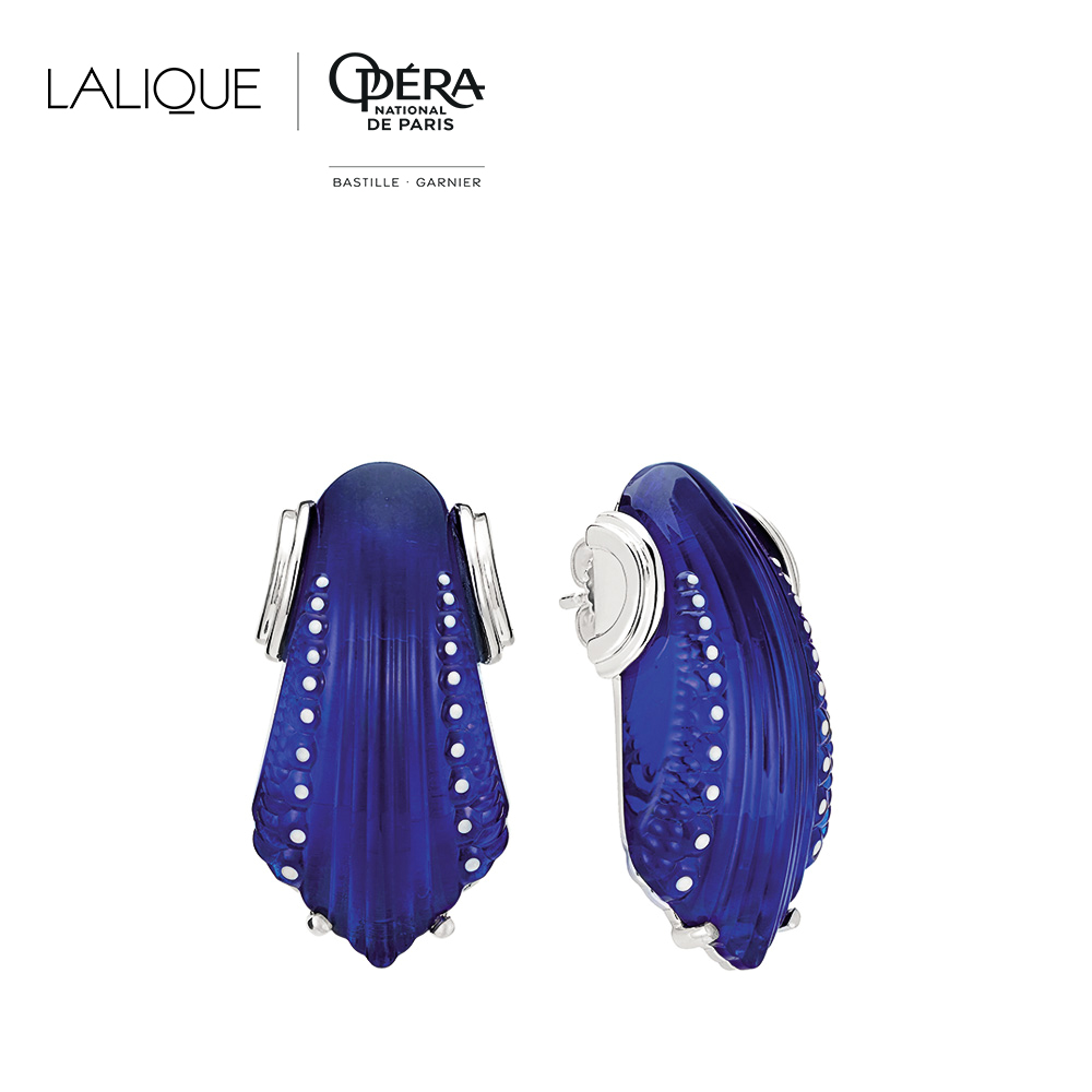 Icone Earrings | Blue Cap-Ferrat crystal, silver. Pin system | Costume jewellery Lalique