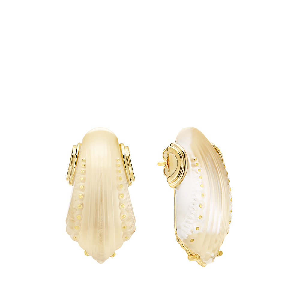 Icone Earrings | Clear crystal, vermeil. Pin system | Costume jewellery Lalique