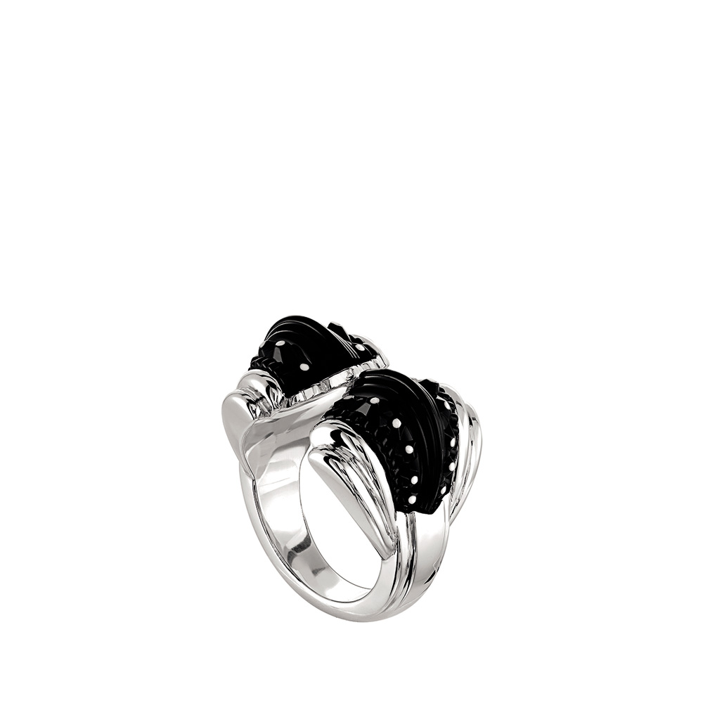 Icone Ring | Black crystal, silver | Costume jewellery Lalique