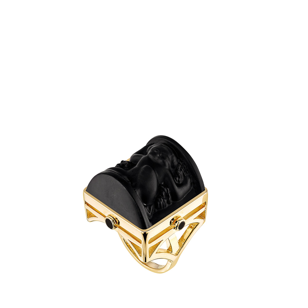 Nysa Ring | Black crystal, black lacquer, Vermeil | Costume jewellery Lalique