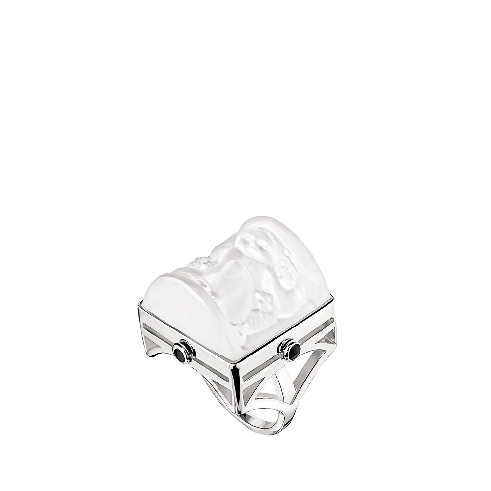 Nysa Ring | Clear crystal, black lacquer, silver | Costume jewellery Lalique