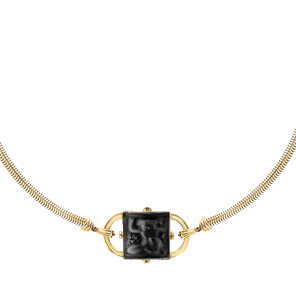 Nysa Necklace | Black crystal, black lacquer, vermeil | Costume jewellery Lalique