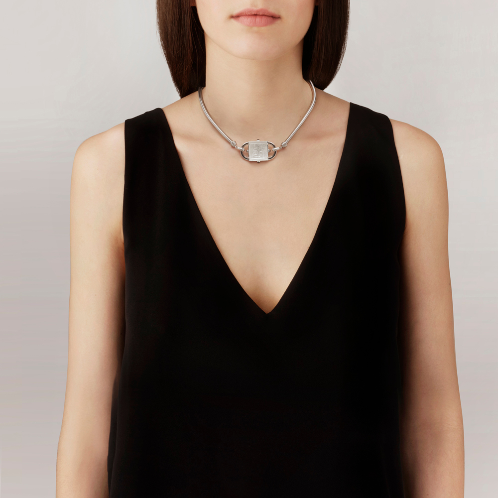 Nysa Necklace | Clear crystal, clear lacquer, silver | Costume jewellery Lalique