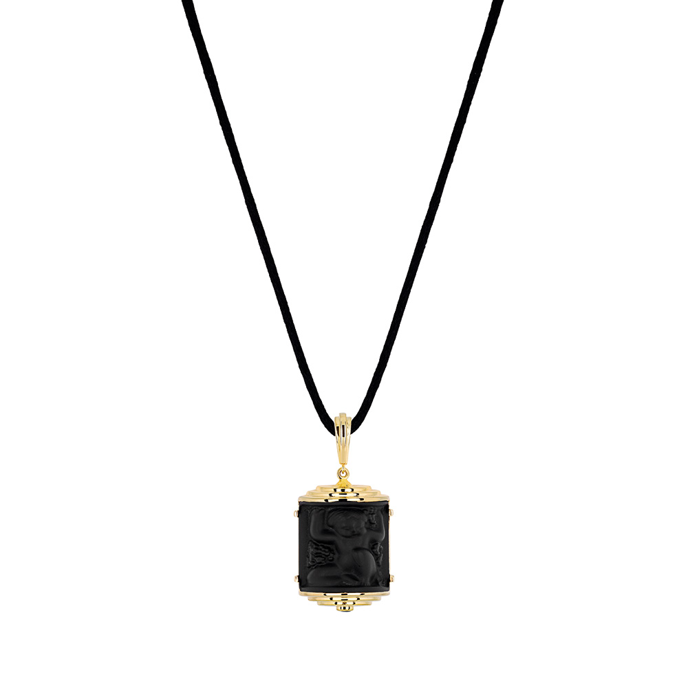 Nysa Pendant | Black crystal, black lacquer, vermeil | Costume jewellery Lalique
