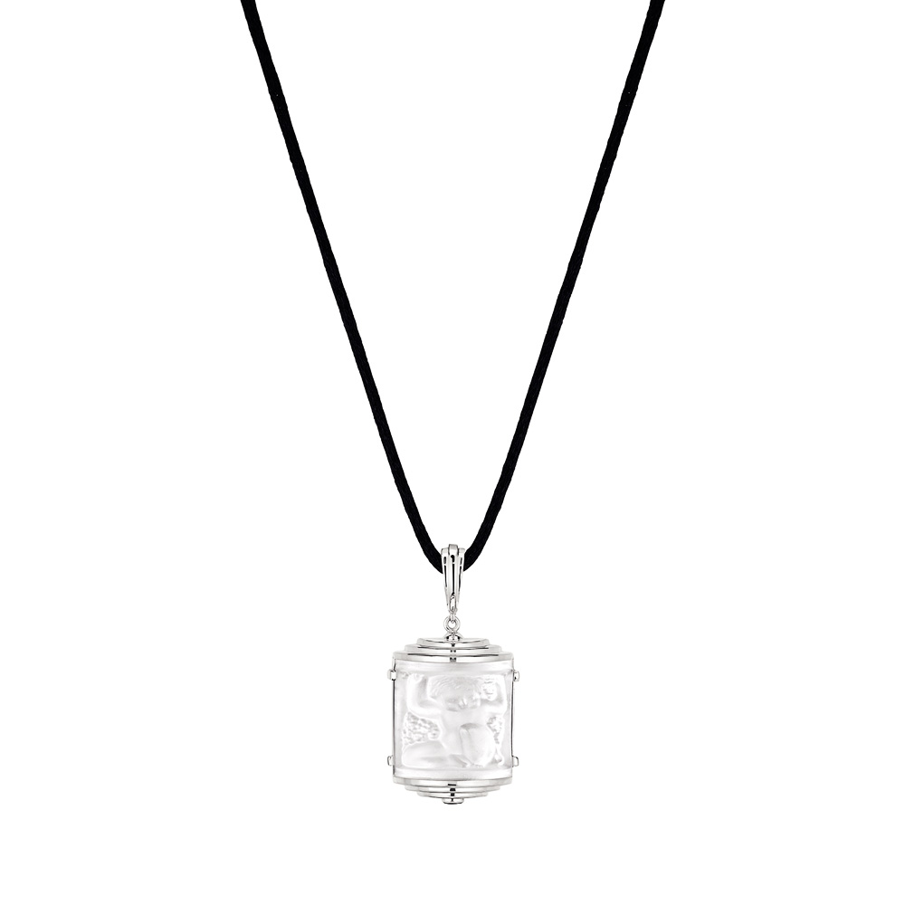 Nysa Pendant | Clear crystal, black lacquer, silver | Costume jewellery Lalique