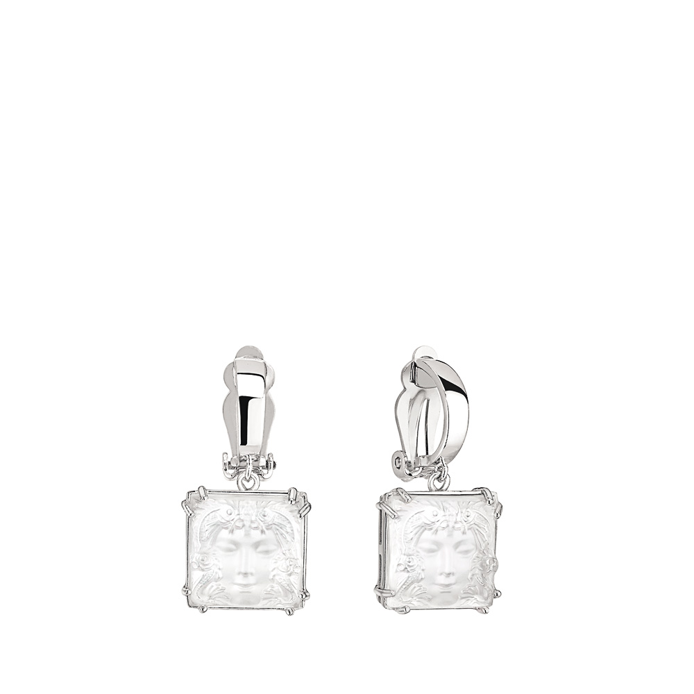 Aréthuse earrings | Clear crystal, silver. Clip system | Costume jewellery Lalique