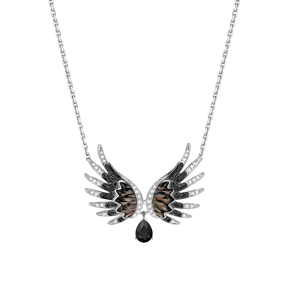 Vesta Pendant | White and black diamonds, spinel, mother-of-pearl, white gold | Lalique fine jewellery