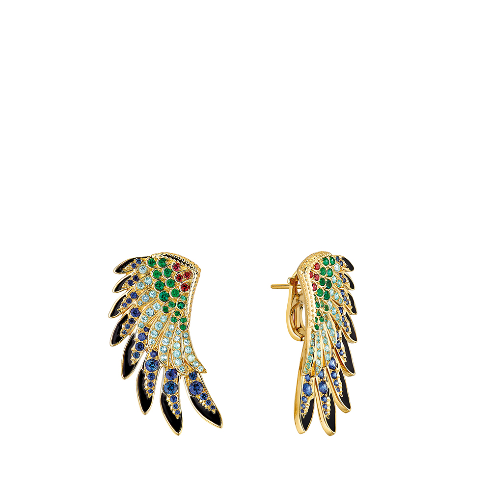 Perroquet earrings | Blues sapphires, emeralds, orange sapphires, Paraiba tourmalines, yellow gold | Lalique fine jewellery