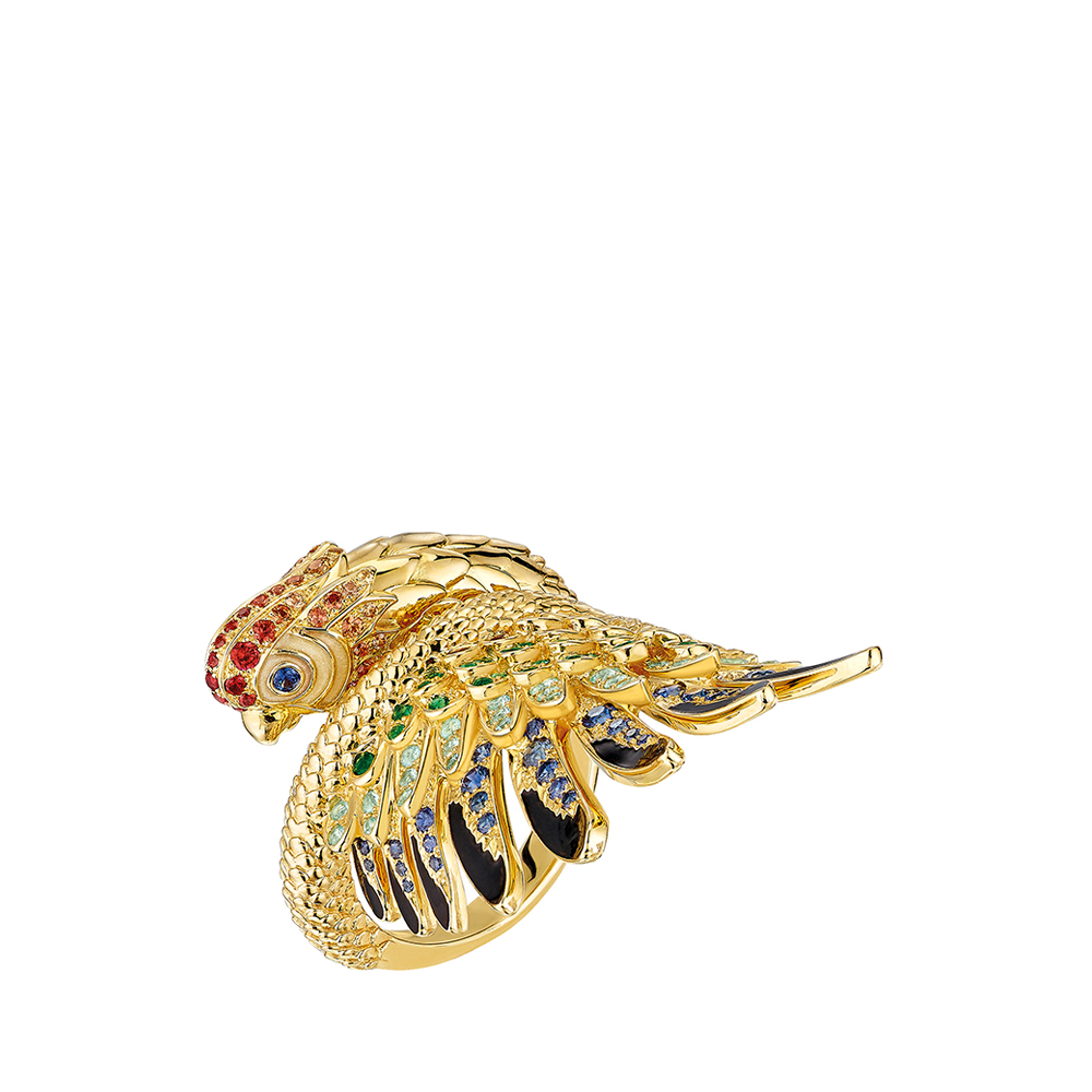 Perroquet ring | Blues sapphires, emeralds, orange sapphires, Paraiba tourmalines, yellow gold | Lalique fine jewellery