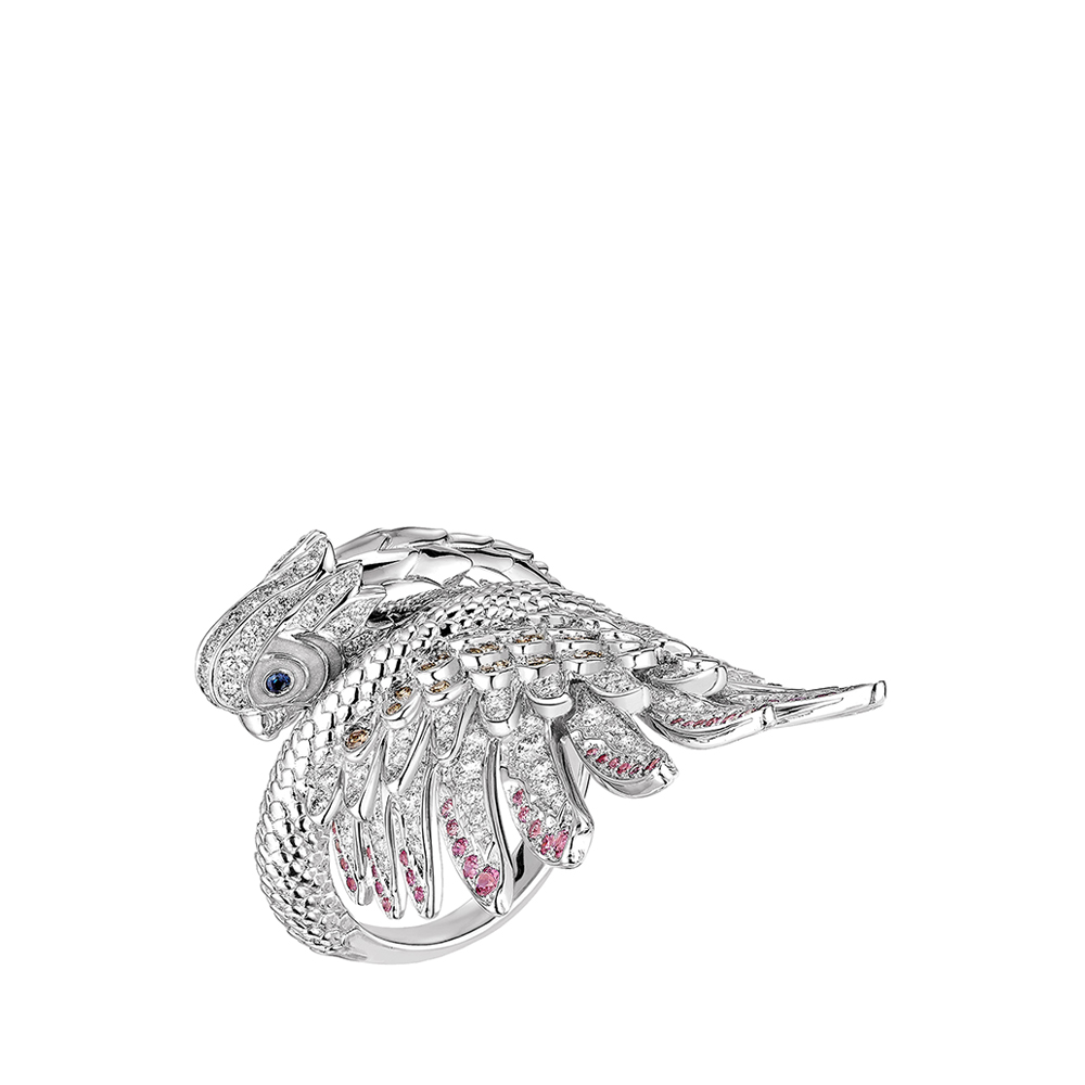 Perroquet ring | Blue sapphires, white and champagne diamonds, white gold | Lalique fine jewellery