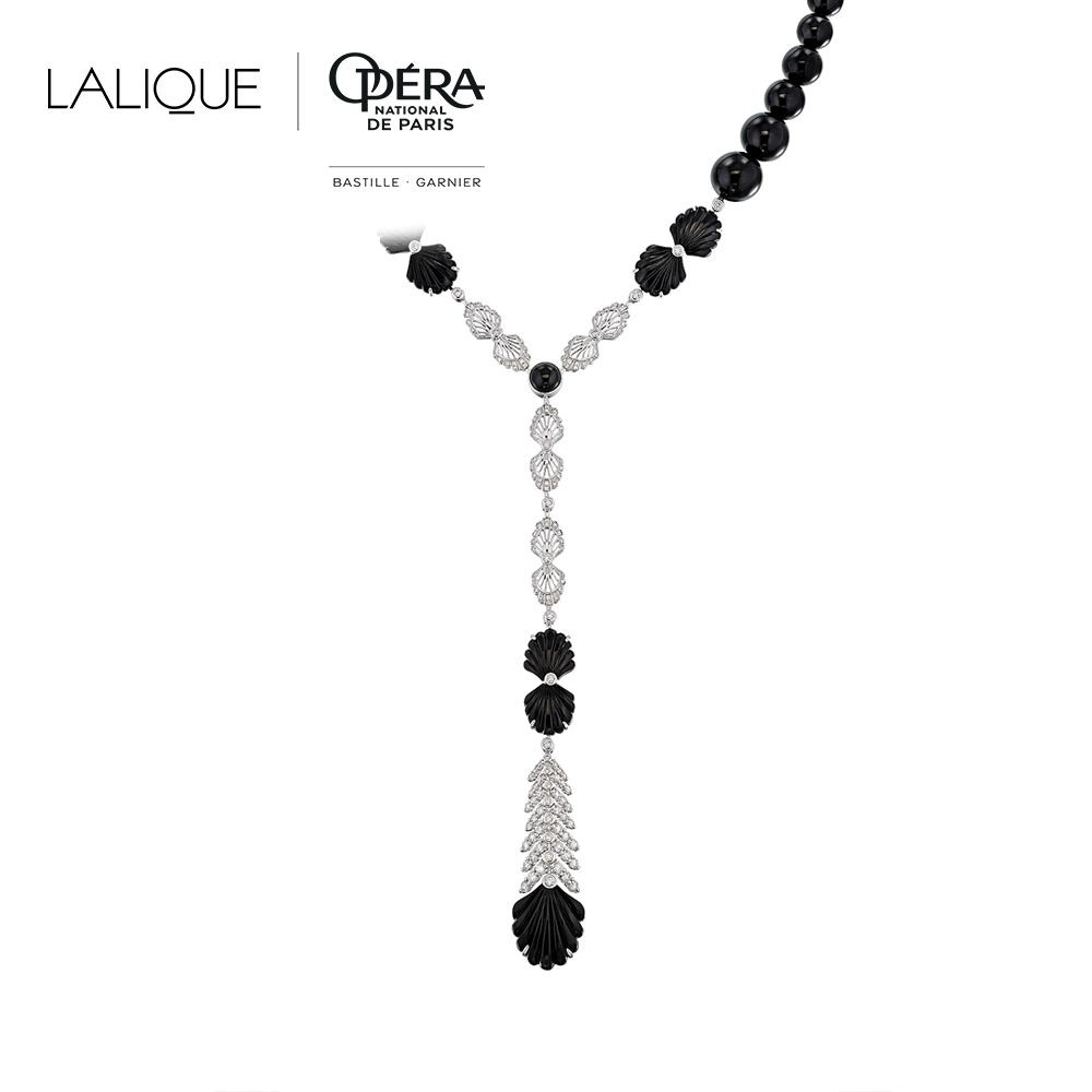 Adrienne necklace | Diamonds, onyx, white gold | Lalique fine jewellery