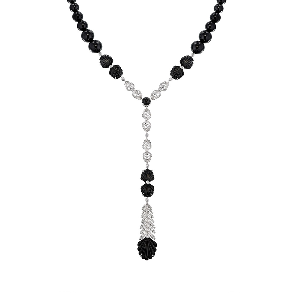 Adrienne necklace | WHITE GOLD, ONYX, DIAMONDS | Lalique fine jewellery