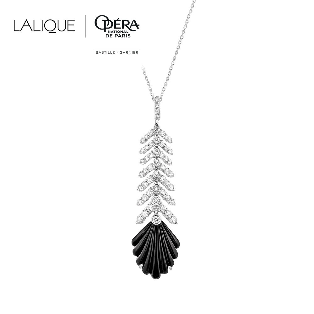 Adrienne Pendant | Diamonds, onyx, white gold | Lalique fine jewellery