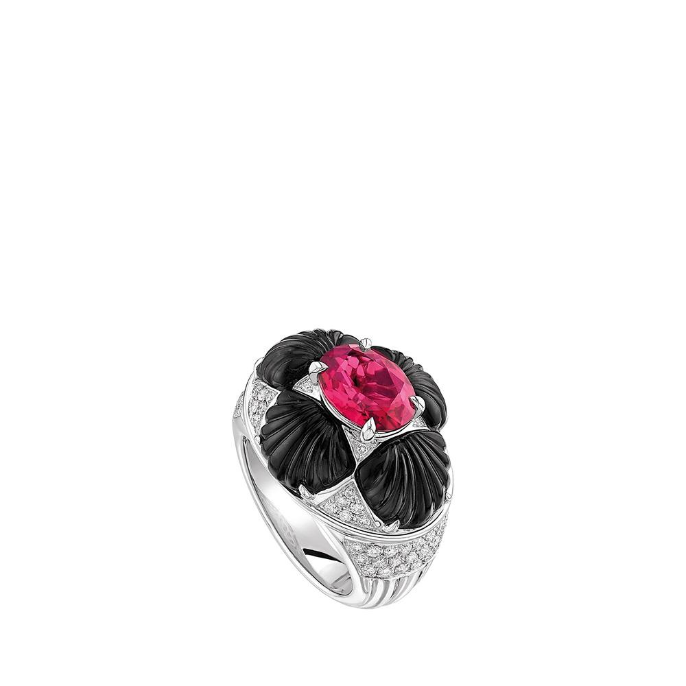 Adrienne ring | WHITE GOLD, RUBELLITE, ONYX,  DIAMONDS | Lalique fine jewellery