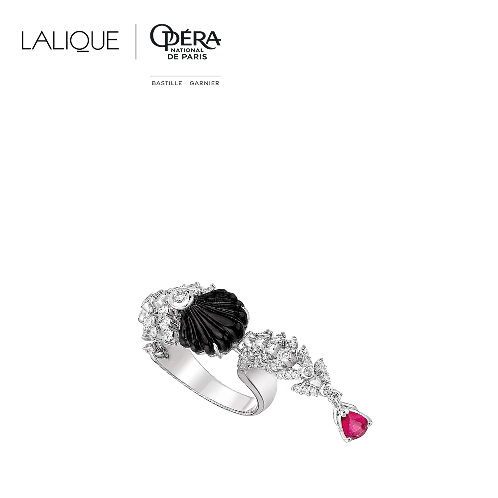 Adrienne ring | Diamonds, rubellite, onyx, white gold | Lalique fine jewellery