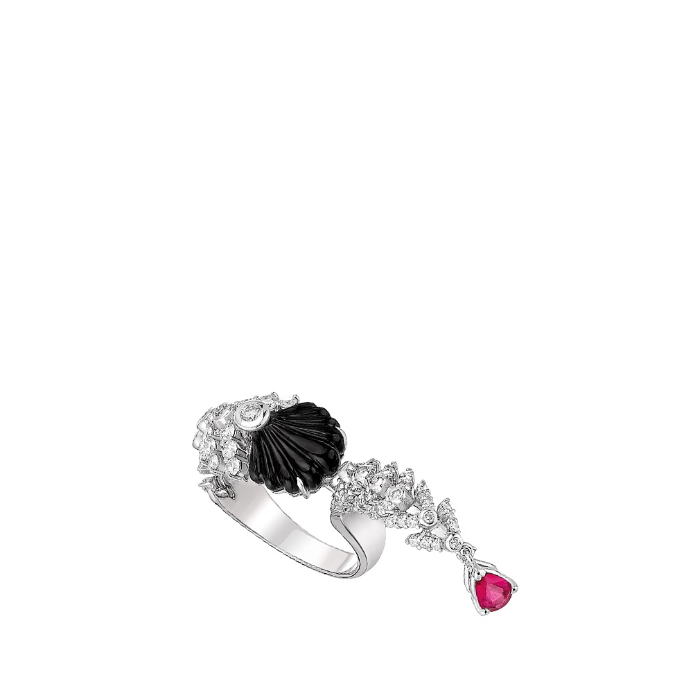 Adrienne between finger ring | WHITE GOLD, RUBELLITE, ONYX,  DIAMONDS | Lalique fine jewellery