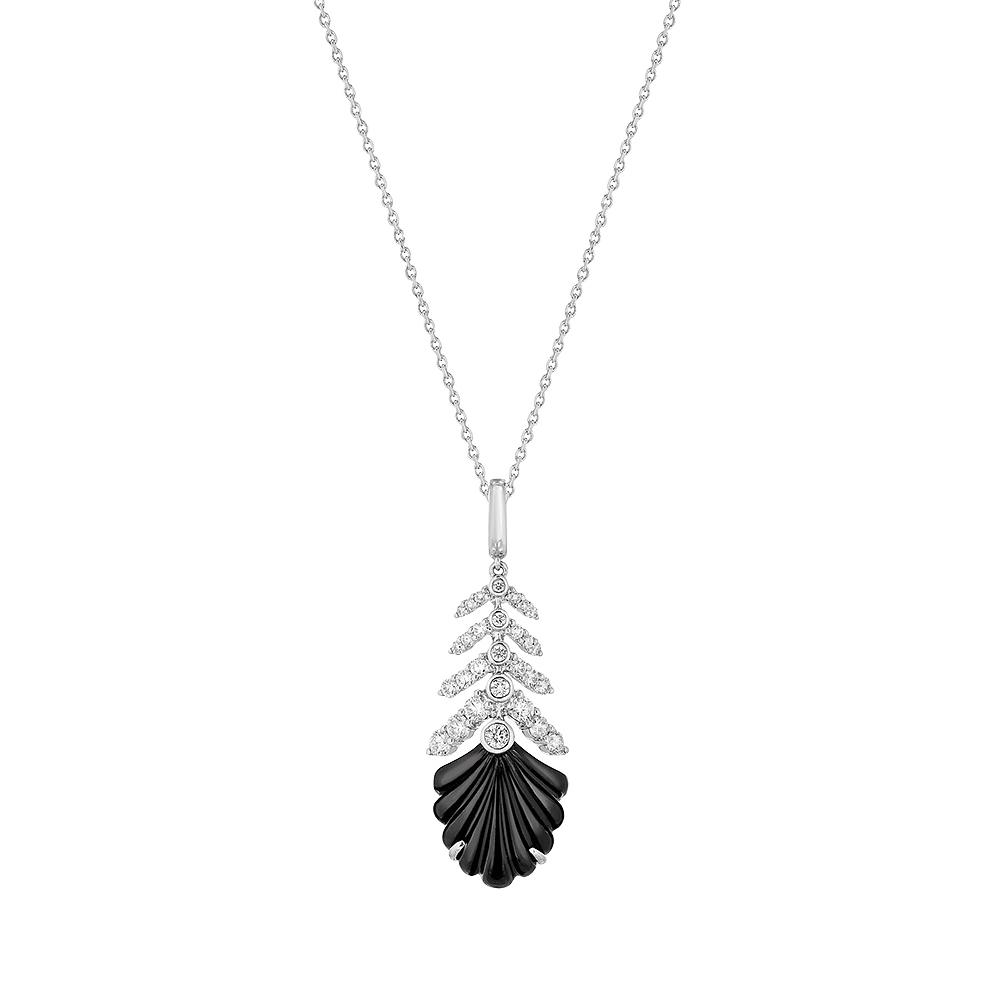 Lys Pendant   Diamonds, onyx, white gold   Lalique fine jewellery