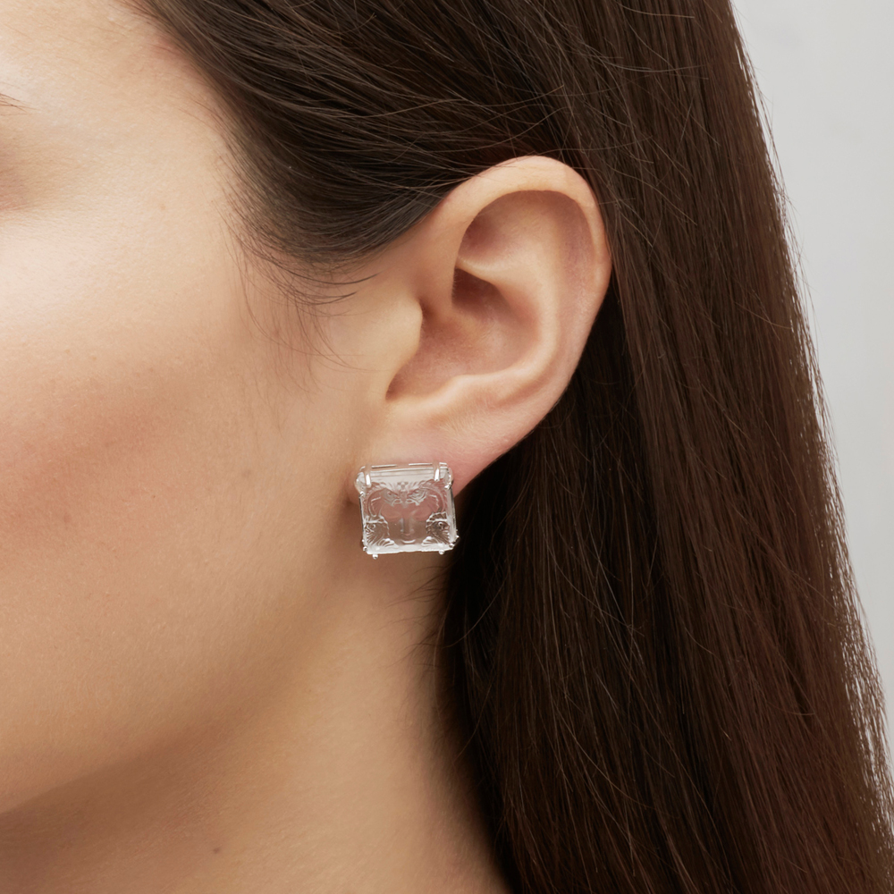 Aréthuse earrings | Clear crystal, silver. Pin system | Costume jewellery Lalique