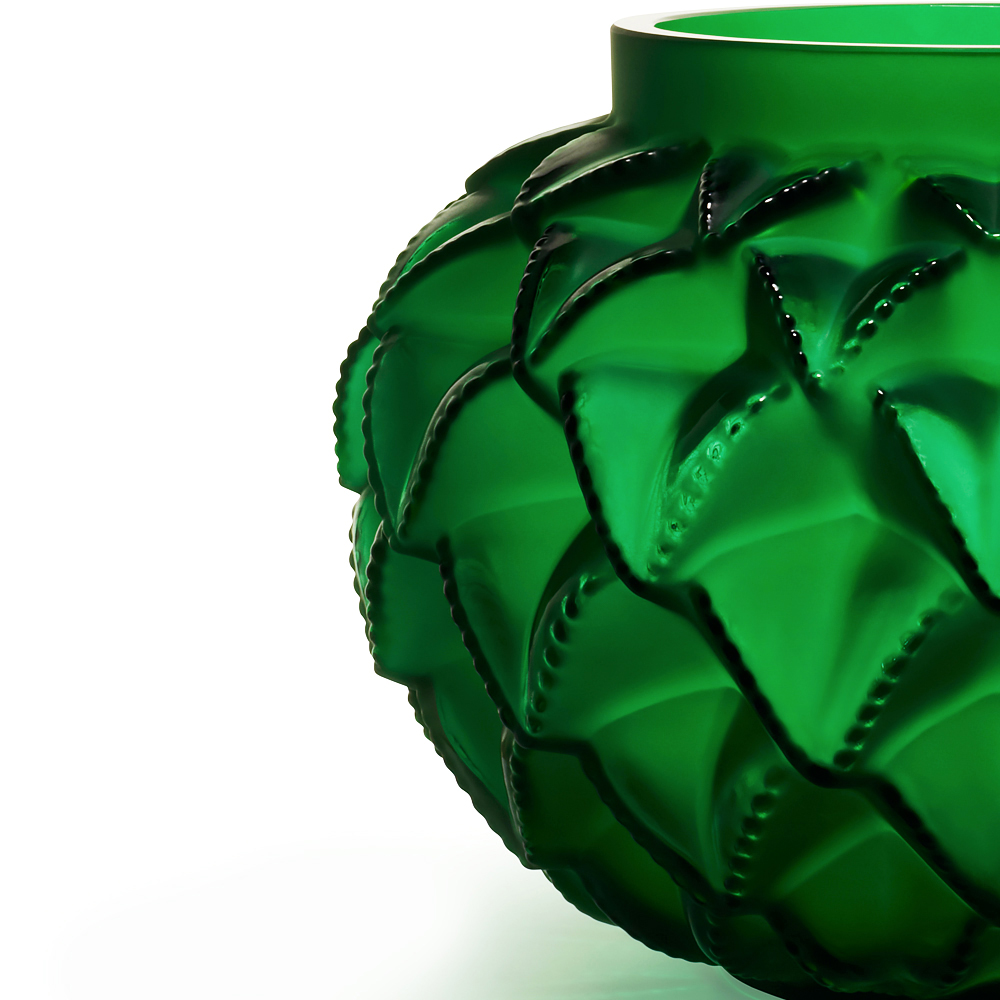 Languedoc small vase | Green crystal | Lalique crystal vase