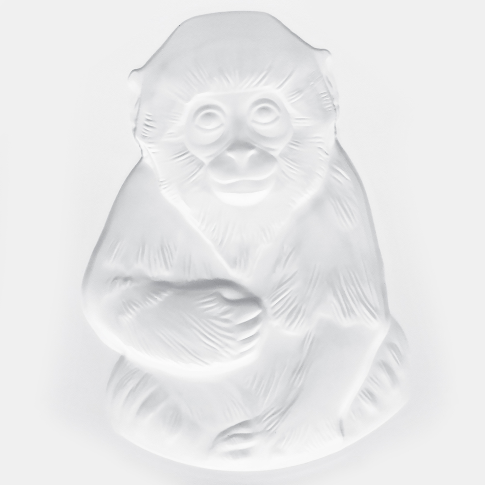 Monkey sculpture, paperweight | Clear crystal | Lalique crystal vase