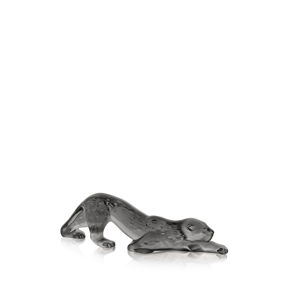 Zeila Panther sculpture | Grey crystal, small size | Sculpture Lalique