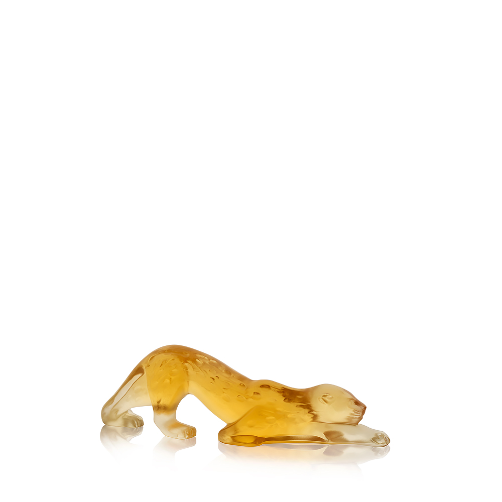 Zeila Panther sculpture | Amber crystal, small size | Sculpture Lalique