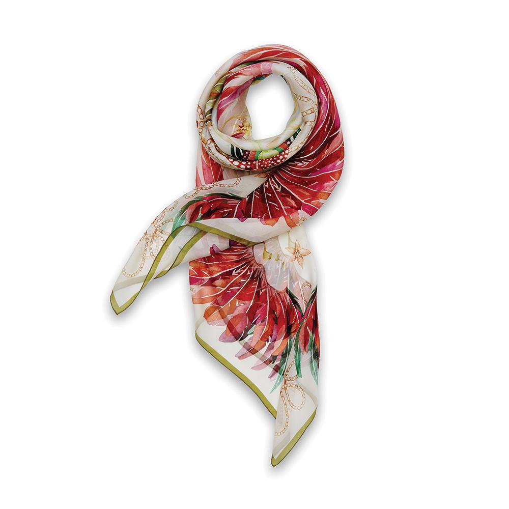 Imperial feathers scarf | Silk mousseline, 140x140 cm, sand color | Lalique