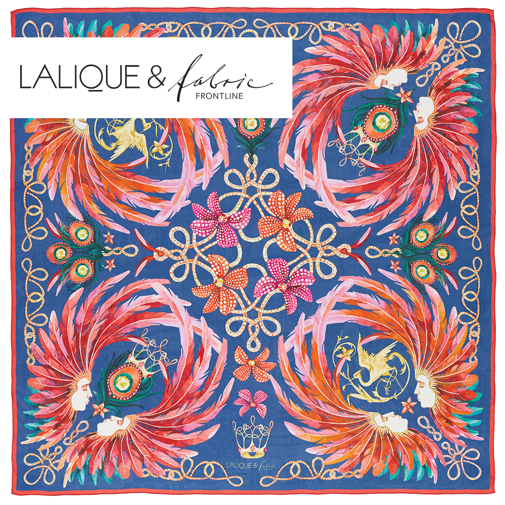 Imperial feathers scarf | Silk mousseline, 140x140 cm, royal blue color | Lalique