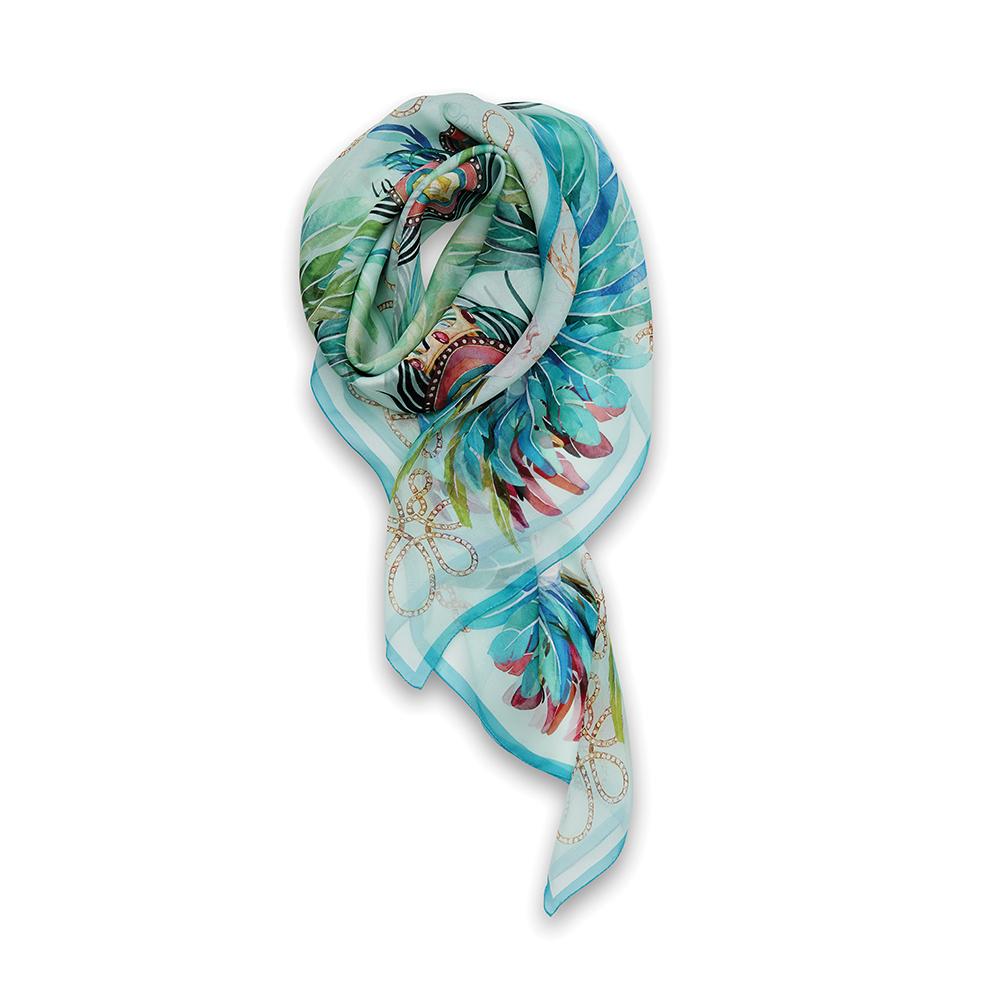 Imperial feathers scarf   Silk mousseline, 140x140 cm, sky blue color   Lalique