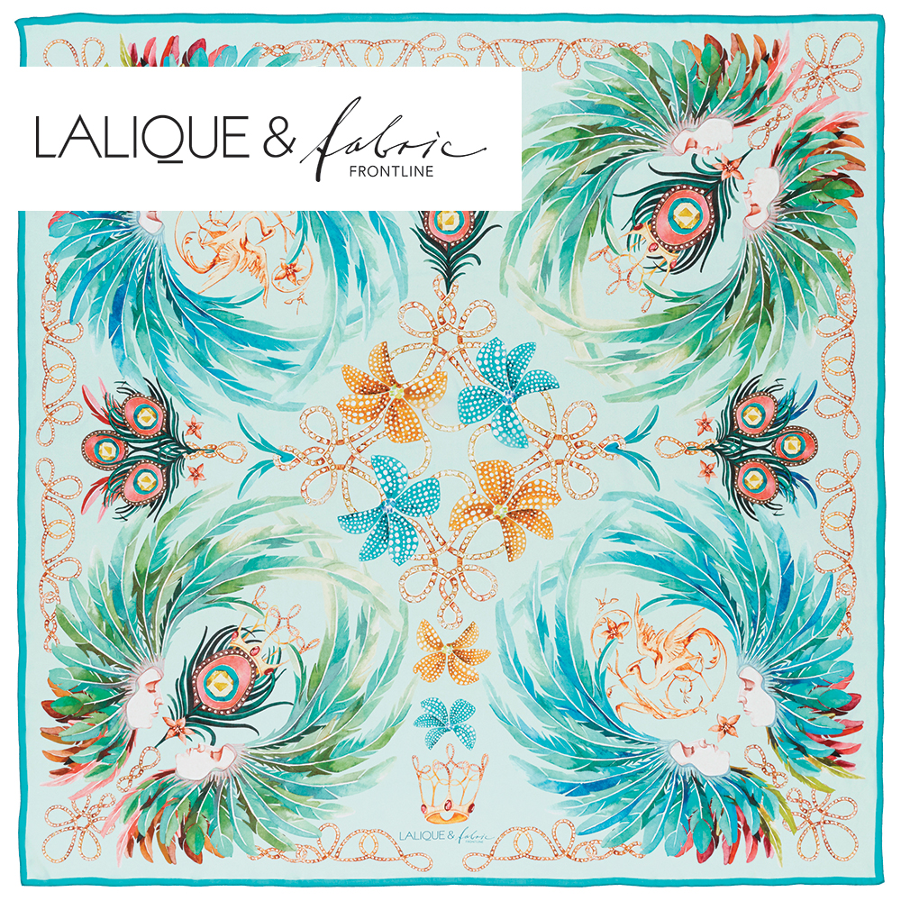 Imperial feathers scarf | Silk mousseline, 140x140 cm, sky blue color | Lalique