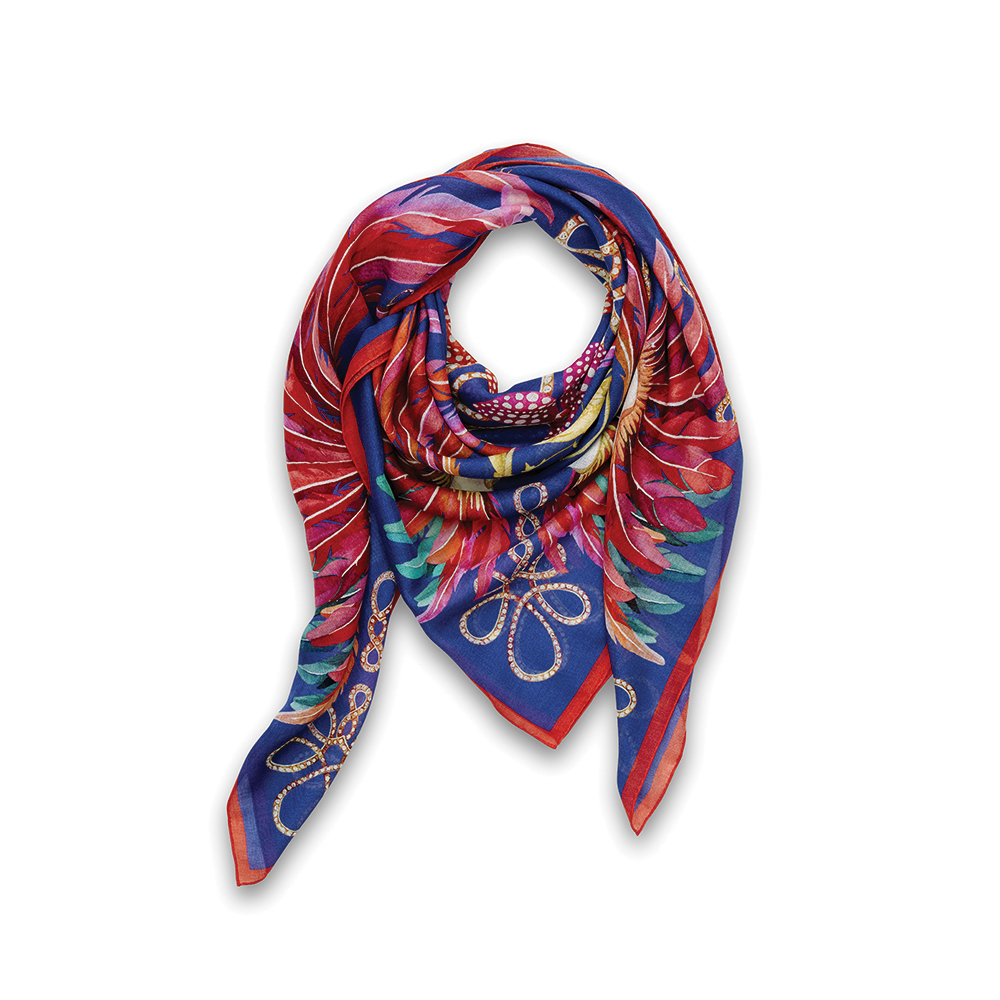 Imperial feathers scarf   Cashmere & silk, 140x140 cm, royal blue color   Lalique