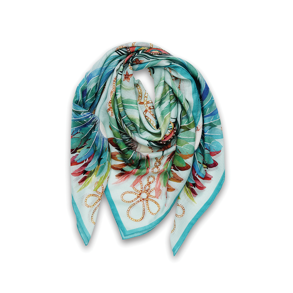 Imperial feathers scarf | Cashmere & silk, 140x140 cm, sky blue color | Lalique
