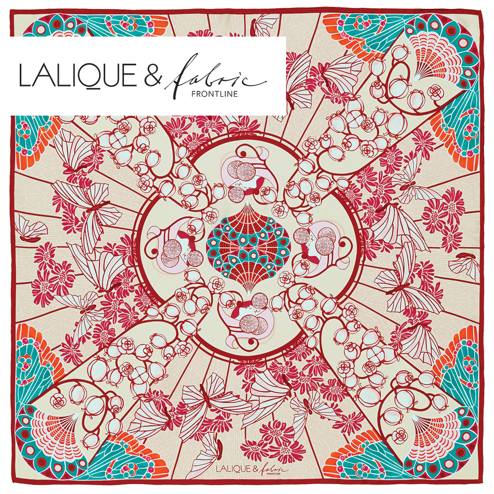 Precious Garden scarf | Silk twill, 95x95 cm, color pink | Lalique