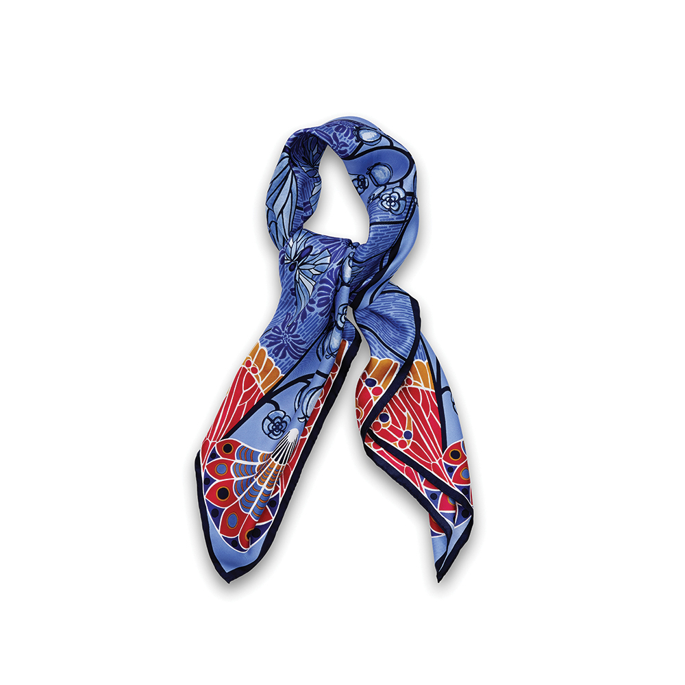Precious Garden scarf | Silk twill, 95x95 cm, blue color | Lalique