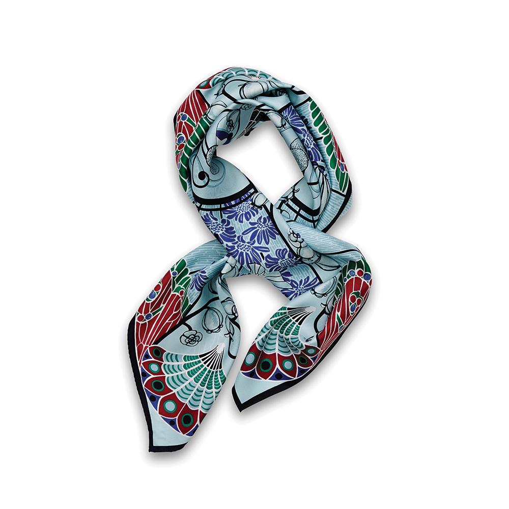 Precious Garden scarf | Silk twill, 95x95 cm, color turquoise | Lalique