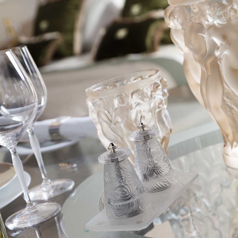 Feuilles pepper & salt grinders | Clear crystal | Lalique and Peugeot