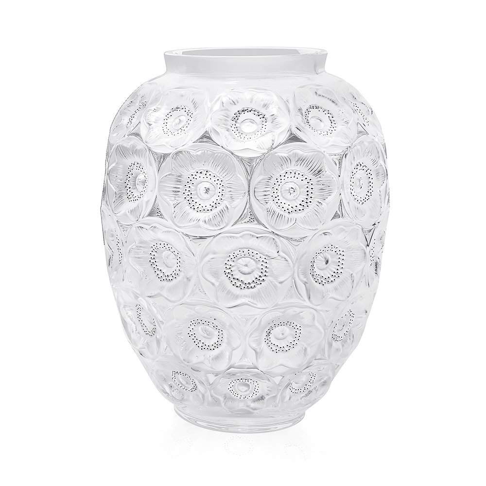 Anemones grand vase | Numbered edition, clear crystal and black enamelled | Lalique crystal vase